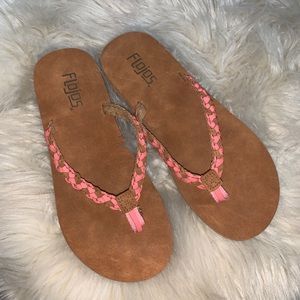 Flojos brown and pink braided flip flop sandals 8?